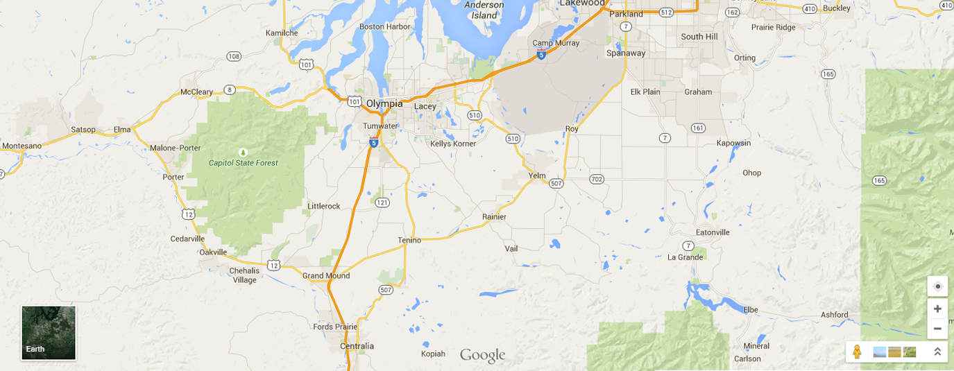 Thurston county location on the map