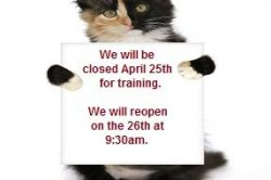 Closing April 25th for Training